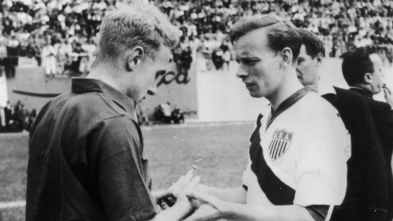 The 1950 captains of England and USA, Billy Wright and Ed McIlvenny (right) exchange souvenirs