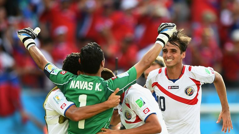 RECIFE, BRAZIL - JUNE 20: Keylor Navas and Bryan Ruiz of Costa Rica celebrate victory with their teammates after a 1-0 World Cup victory over Italy