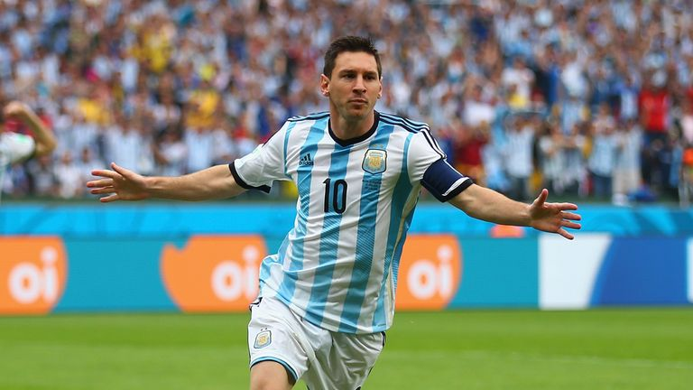 PORTO ALEGRE, BRAZIL - JUNE 25: Lionel Messi of Argentina celebrates scoring his team's first goal during the 2014 FIFA World Cup Brazil Group F match betw