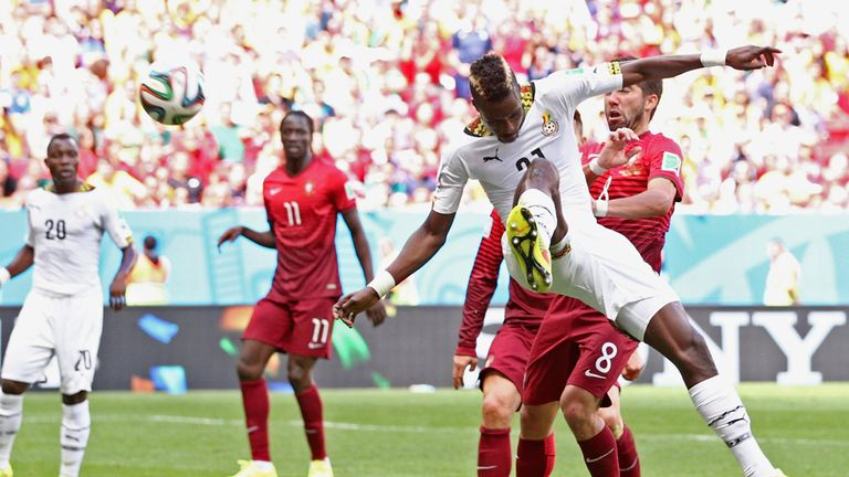 John Boye of Ghana scores an own goal during the 2014 FIFA World Cup Brazil Group G match between Portugal and Ghana