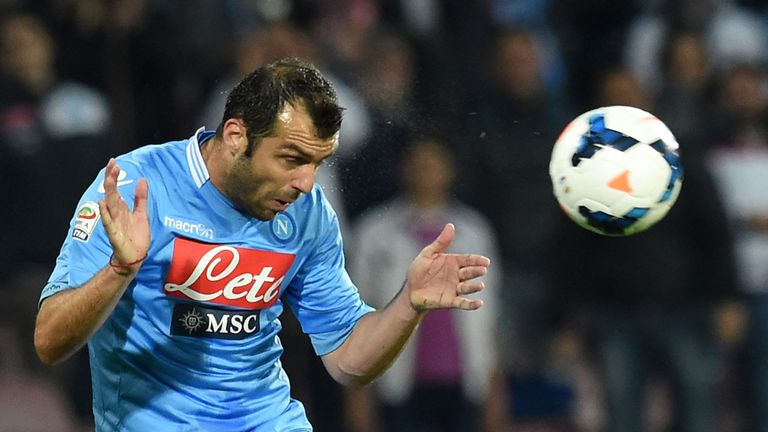 NAPLES, ITALY - MAY 06:  Goran Pandev of Napoli in action during the Serie A match between SSC Napoli and Cagliari Calcio at Stadio San Paolo on May 6, 201