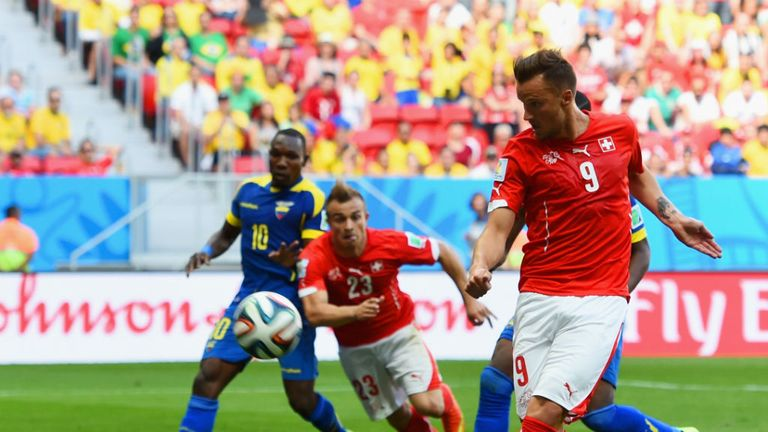 Haris Seferovic scores the winner for Switzerland against Ecuador at the World Cup