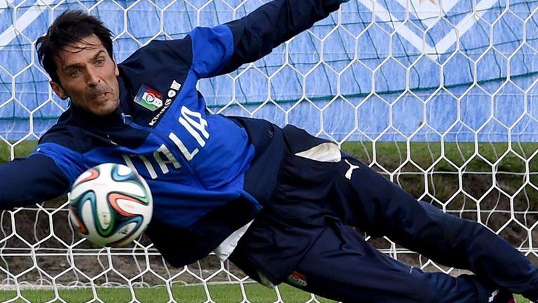 Italy's No 1 goalkeeper Gianluigi Buffon during training earlier this week