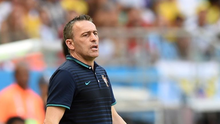Portugal's coach Paulo Bento reacts during the Group G football match between Germany and Portugal at the Fonte Nova Arena in Salvador on June 16, 2014