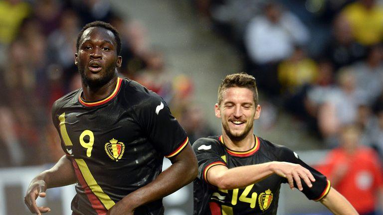 Romelu Lukaku: Celebrates after scoring for Belgium