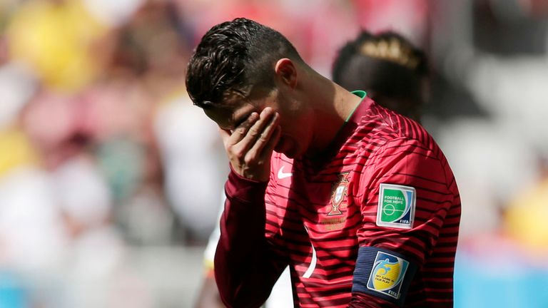 Portugal's Cristiano Ronaldo gestures during the group G World Cup soccer match between Portugal and Ghana