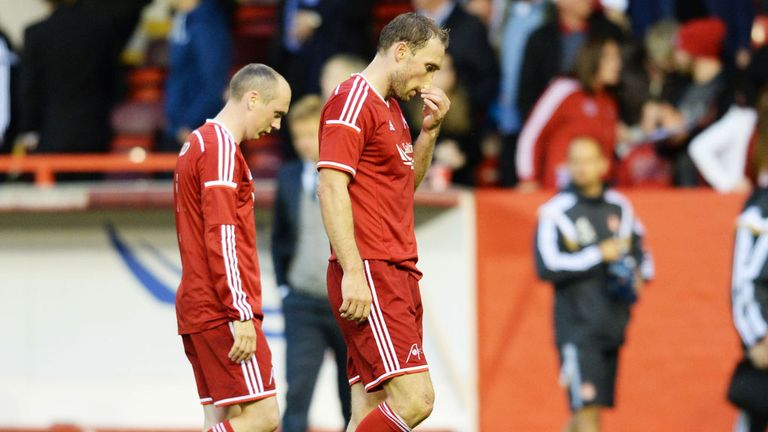 Aberdeen: Players look dejected after draw with Groningen