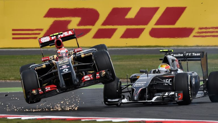 Maldonado collides with Esteban Gutierrez at the British GP