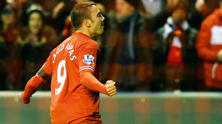 Iago Aspas: Liverpool forward celebrates his goal against Oldham in January