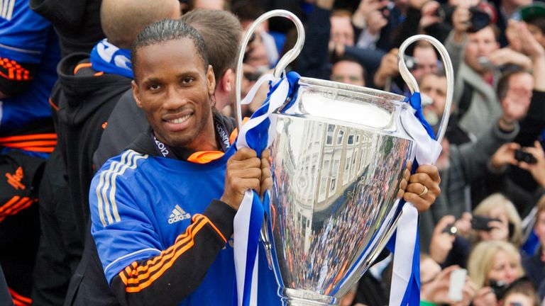 Chelsea striker Didier Drogba holds the Champions League