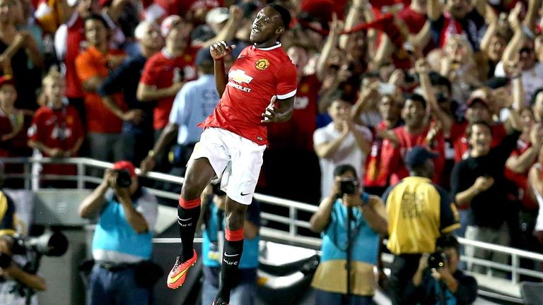 Danny Welbeck jumps for joy after scoring Manchester United's opening goal in a 7-0 hammering of LA Galaxy at the Rose Bowl in Pasadena