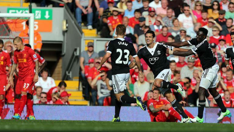 Southampton's Dejan Lovren celebrates his goal during the Barclays Premier League match at Anfield, Liverpool.