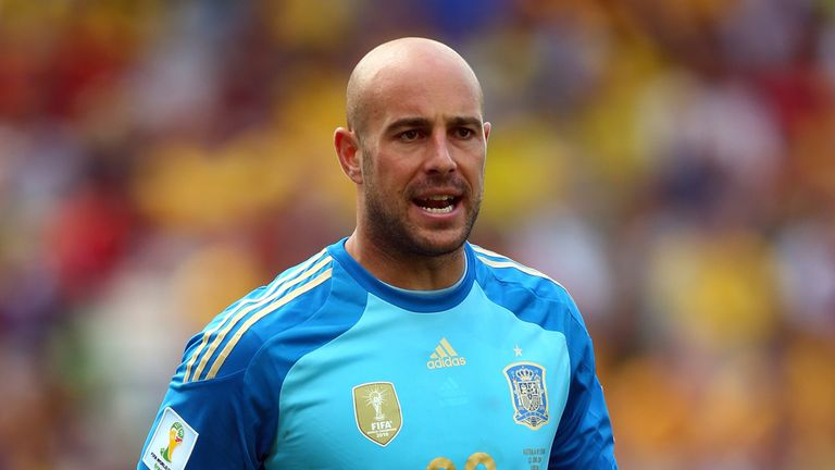 CURITIBA, BRAZIL - JUNE 23: Pepe Reina of Spain looks on during the 2014 FIFA World Cup Brazil Group B match between Australia and Spain at Arena da Baixad