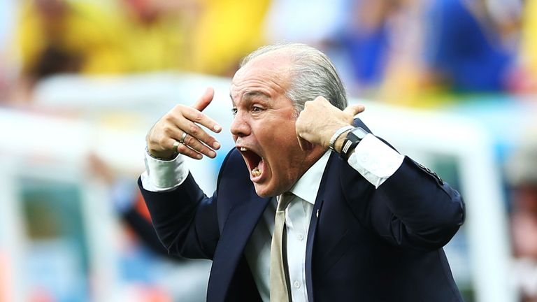 Head coach Alejandro Sabella of Argentina gestures during the 2014 FIFA World Cup Brazil Quarter Final match between Argentina and Belgium in Brasilia