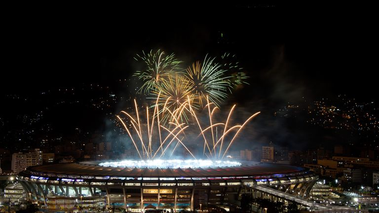 RIO DE JANEIRO, BRAZIL - JULY 13:  General view of fireworks after the 2014 FIFA World Cup Brazil Final between Germany v Argentina at Maracana Stadium on