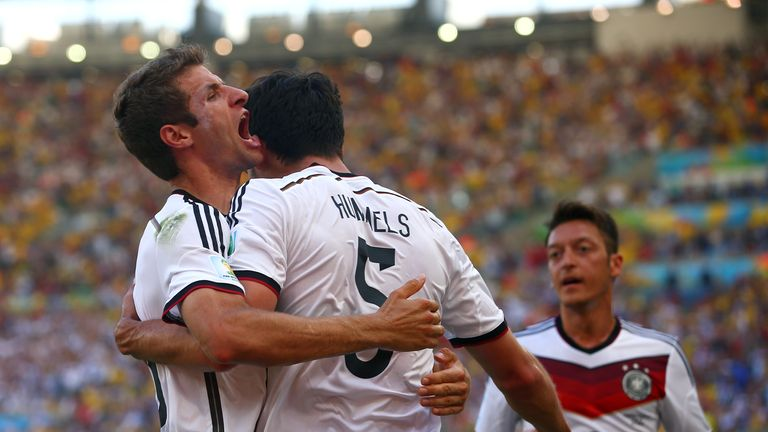 Mats Hummels celebrates goal with Thomas Muller and Mesut Ozil, France v Germany, World Cup quarter-final, Maracana