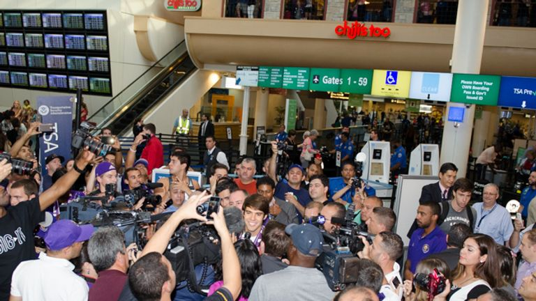 Kaka receives impressive welcome at Orlando International Airport (Pic: Nigel Worrall)