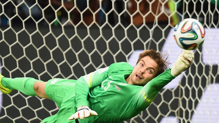 SALVADOR, BRAZIL - JULY 05: Tim Krul of the Netherlands saves a penalty kick by Michael Umana of Costa Rica (not pictured) to win in a shootout during the