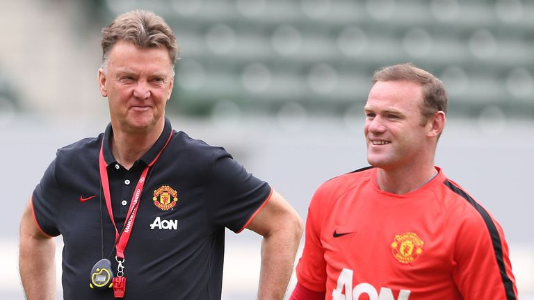 Manager Louis van Gaal and Wayne Rooney of Manchester United in action during training