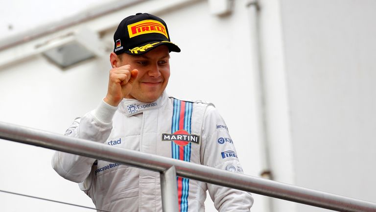 Valtteri Bottas celebrates second on the podium