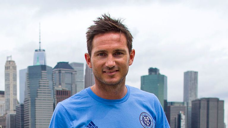 Frank Lampard, of England, poses with the Manhattan skyline behind him after his introduction as a member of the MLS expansion club New York City FC,