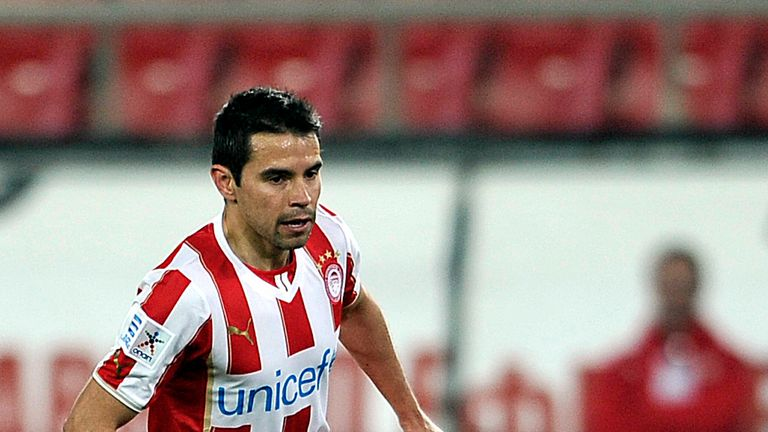ATHENS,GREECE - FEBRUARY 5:  Saviola of Olympiacos F.C. in action during the Greek Superleague  match between Olympiacos F.C. and Panionios GSS at the Kara