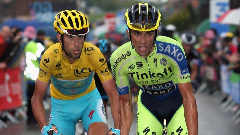 Alberto Contador hinted he was in stronger climbing form by dropping Vincenzo Nibali late on stage eight