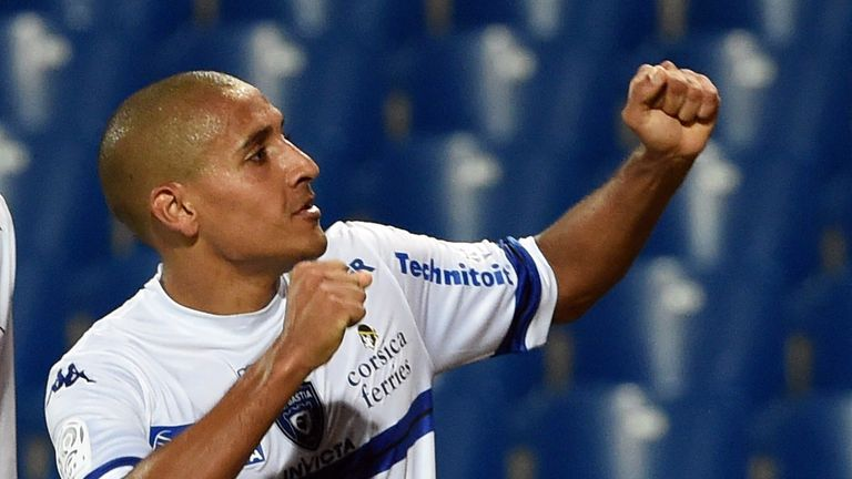 Bastia's Tunisian midfielder Wahbi Khazri reacts after scoring a goal during the French L1 football match Montpellier vs Bastia at Mosson stadium in Montpe