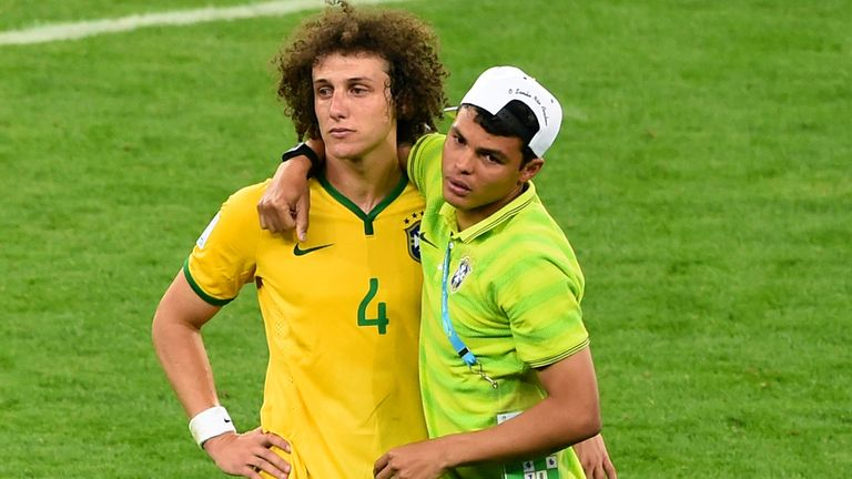 BELO HORIZONTE, BRAZIL - JULY 08:  Thiago Silva of Brazil consoles David Luiz after Germany's 7-1 victory during the 2014 FIFA World Cup Brazil Semi Final