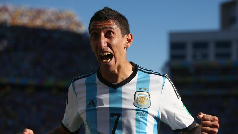 Angel di Maria shows his delight after scoring in the 118th minute to finally break the deadlock