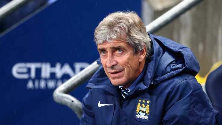 Manchester City Manager Manuel Pellegrini looks on prior to the Barclays Premier League match between Manchester City and