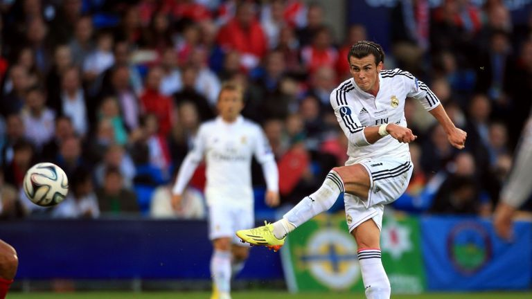 Real Madrid's Gareth Bale shoots during the UEFA Super Cup Final at the Cardiff City Stadium, Cardiff.