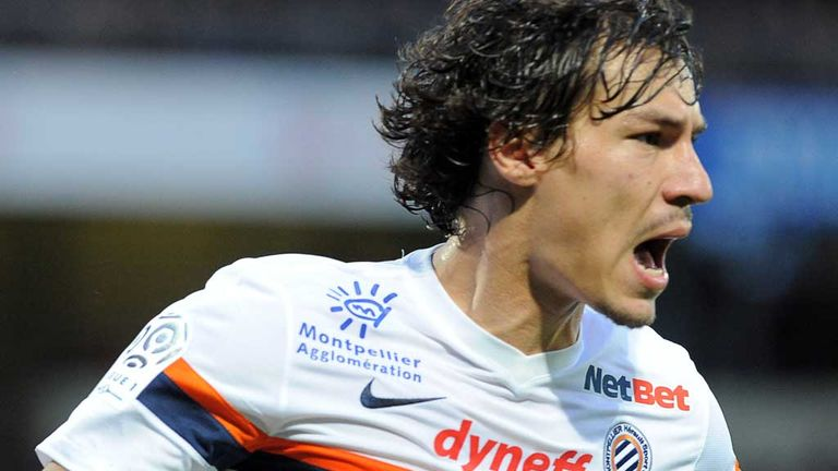 Montpellier's French defender Benjamin Stambouli celebrates after scoring during the French L1 football