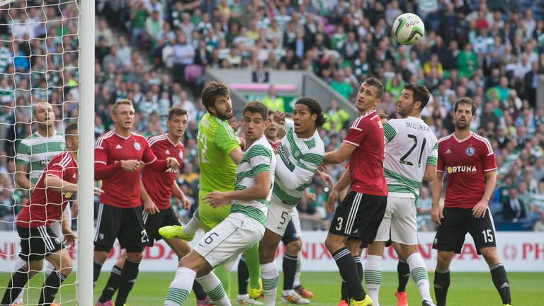 Goalmouth action during the Champions League qualifier between Celtic and Legia Warsaw at Murrayfield, Edinburgh