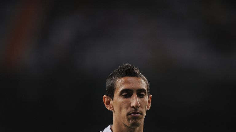 MADRID, SPAIN - AUGUST 19:  Angel di Maria looks on during the Supercopa first leg match between Real Madrid and Club Atletico de Madrid     at Estadio San