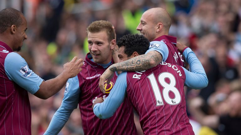STOKE ON TRENT, ENGLAND - AUGUST 16: Andreas Weimann of Aston Villa celebrates his goal for Aston Villa during the Barclays Premier League match between St