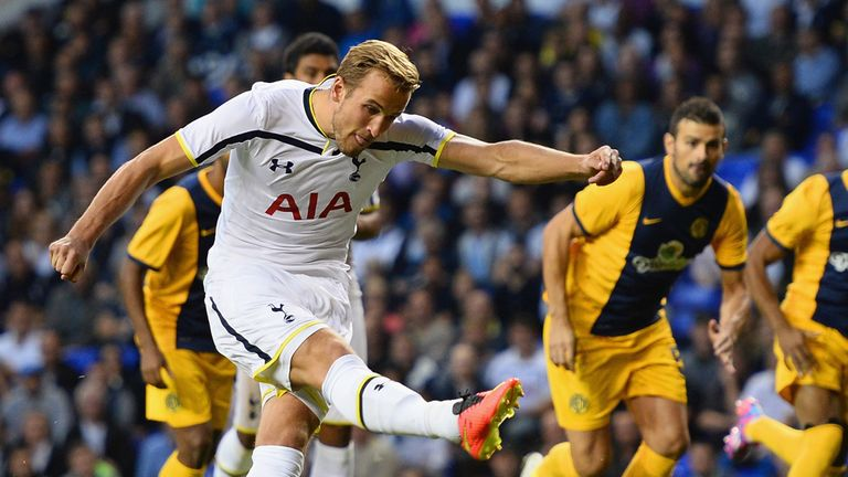 Harry Kane of Spurs misses from the penalty spot during the UEFA Europa League Qualifying Play-Offs Round Second Leg match be