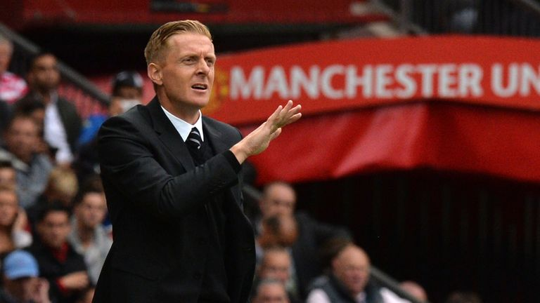 Swansea City manager Garry Monk gestures during the Premier League match between Manchester United and Swansea City at Old Trafford