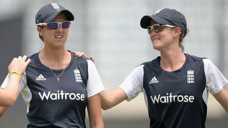 Jenny Gunn and Lydia Greenway limbering up for the Test against India