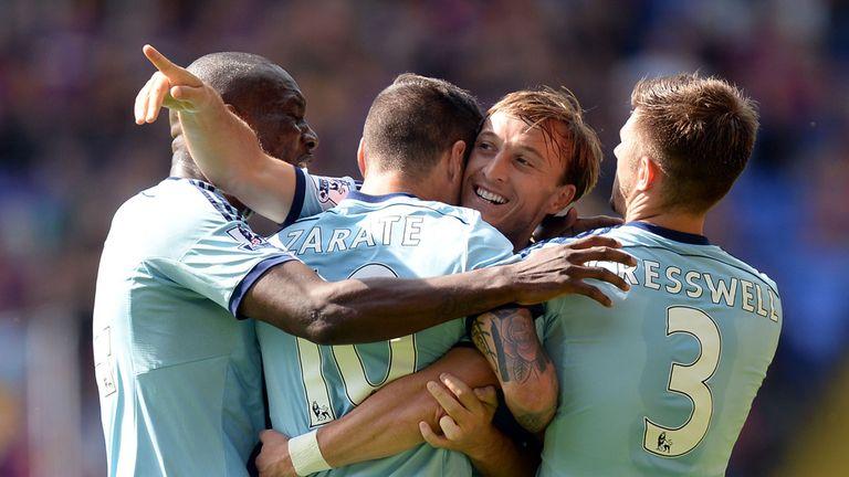 Mauro Zarate celebrates with West Ham