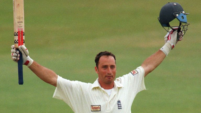 Nasser Hussain celebrates reaching his double hundred, at Edgbaston in 1997