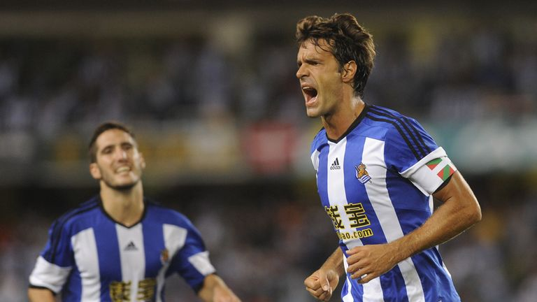 Xabi Prieto (right): Celebrates after scoring for Real Sociedad in their 1-0 win against Krasnodar