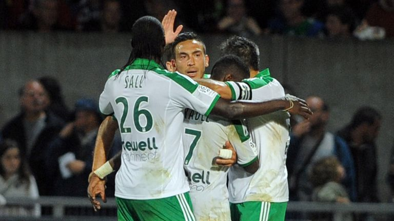 Saint-Etienne's Mevlut Erding is congratulated after scoring