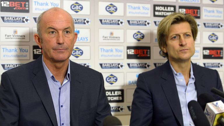 File photo dated 25-11-2013 of Crystal Palace manager Tony Pulis with Chairman Steve Parish. PRESS ASSOCIATION Photo. Issue date: Thursday August 14, 2014.