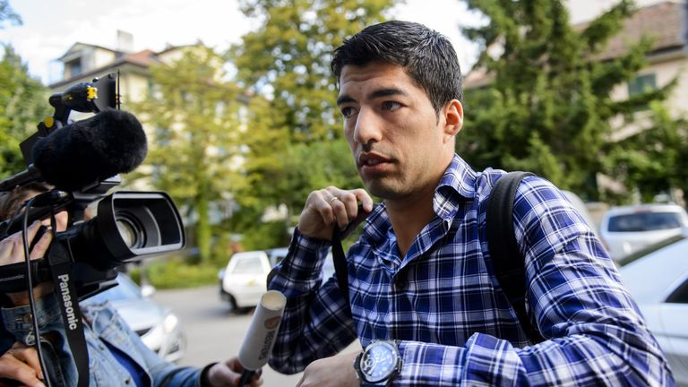 Suarez arrives for a hearing at the Court of Arbitration for Sport