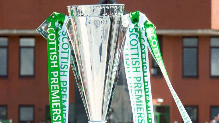 Scottish Premiership trophy outside Celtic Park