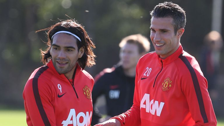 Radamel Falcao (L) struggled at Old Trafford last season, spending a lot of time on the bench