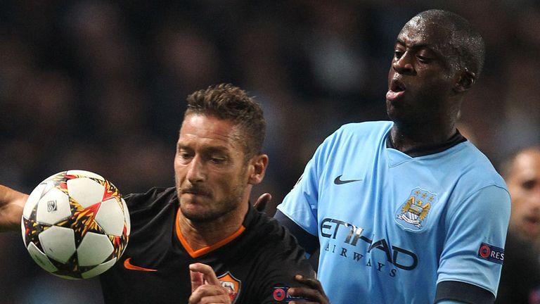 Francesco Totti: Roma goalscorer watched by Yaya Toure