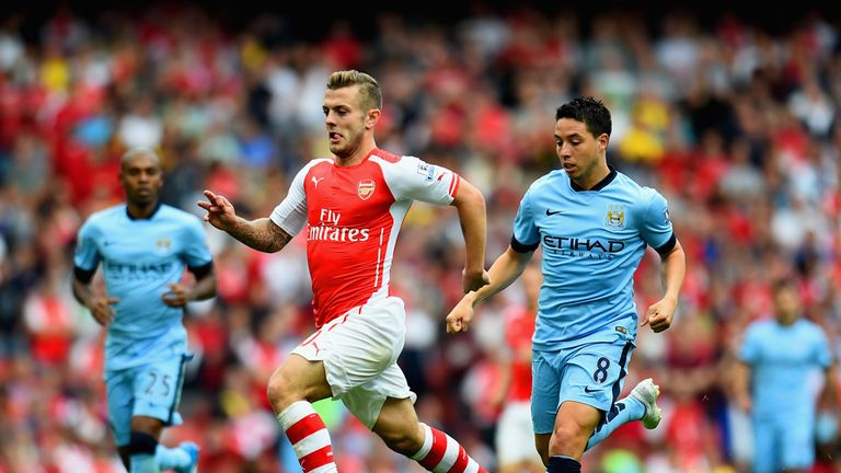 Wilshere (centre) scored in Arsenal's 2-2 draw with Manchester City last season