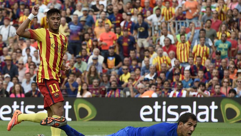 Neymar scores for Barcelona against Athletic Bilbao